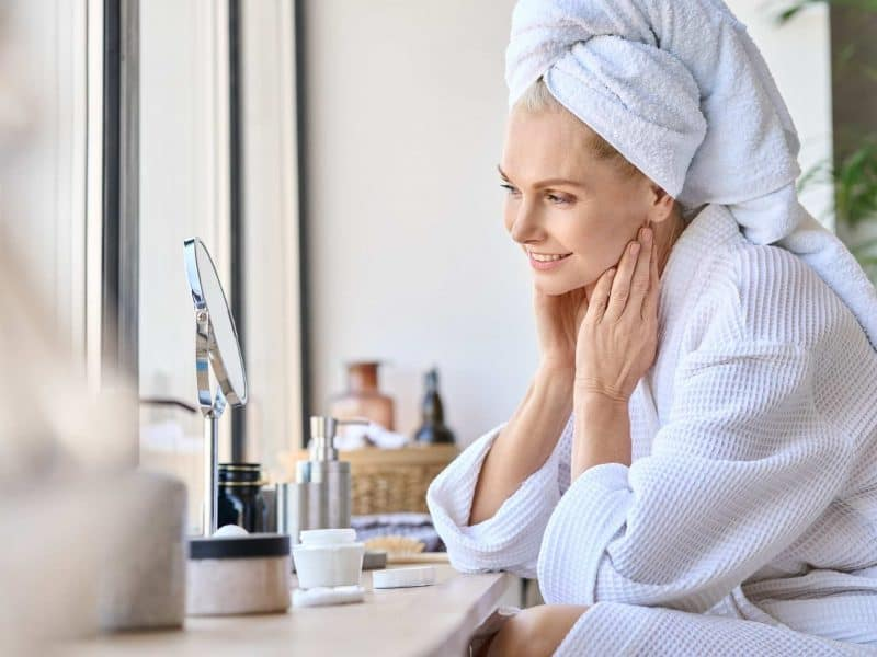 Middle aged women morning skincare routine